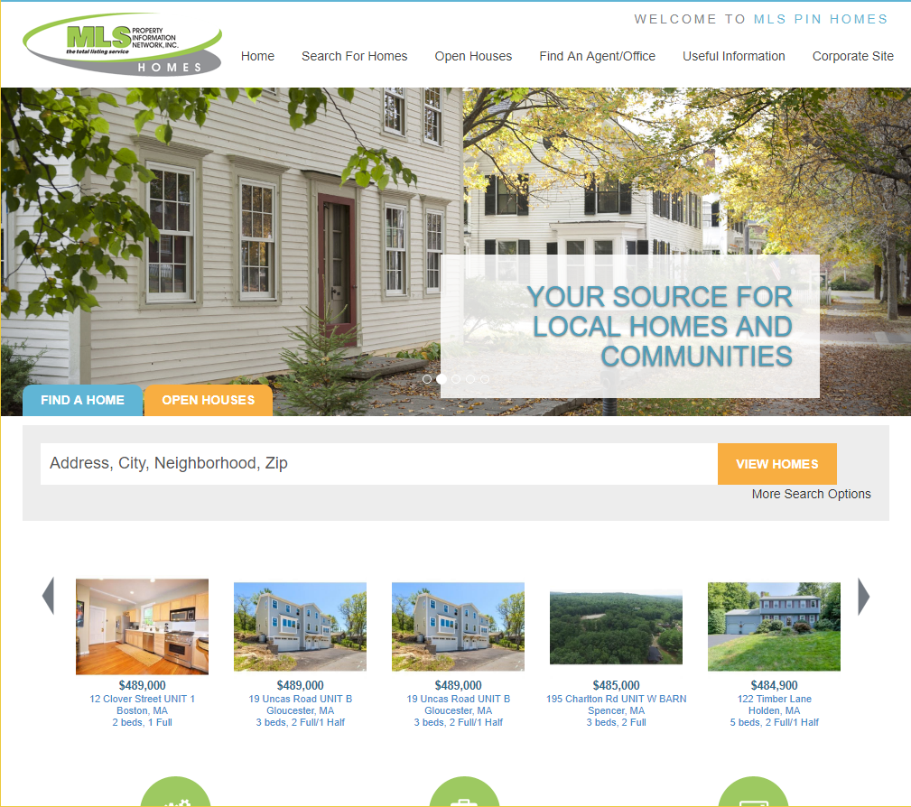 The current landing page for MLSPIN homes.
