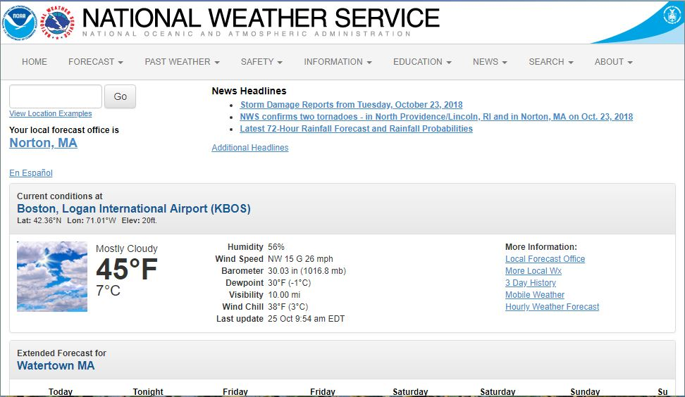 The current NWS local forecast page. The extended forecast is well below the fold.